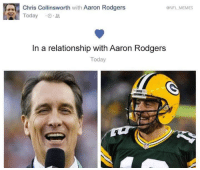All 2018 until he retires!: @NFL MEMES  Chris Collinsworth with Aaron Rodgers  Today .O.L  In a relationship with Aaron Rodgers  Today  ACKER All 2018 until he retires!