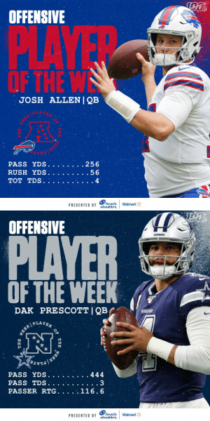 Offensive Players of the Week (Week 11):  AFC: @BuffaloBills QB @JoshAllenQB  NFC: @dallascowboys QB @dak    (by @Headshoulders) https://t.co/tCZpan2FqG: NFL  OFFENSIVE  PLAYE  OF THE W  JOSH ALLENI QB  .256  PASS YDS.  RUSH YDS.  .56  TOT TDS.  4  head&  shoulders  Walmart  PRESENTED BY  THE  EEK   OFFENSIVE  PLAYER  CowBOYS  OF THE WEEK  PRESCOTT I QB  DAK  COWBOS  PLAYER  WEEK  PASS YDS.  444  PASS TDS.  PASSER RTG. .  116.6  head&  shoulders  PRESENTED BY  Walmart  OF  THE  ERK  THE Offensive Players of the Week (Week 11):  AFC: @BuffaloBills QB @JoshAllenQB  NFC: @dallascowboys QB @dak    (by @Headshoulders) https://t.co/tCZpan2FqG