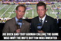 Memes, Nfl, and The Game: NFL ON FOX  JOE BUCKAND TROY AIKMAN CALLING THE GAME  WAS WHY THE MUTE BUTTON WAS INVENTED