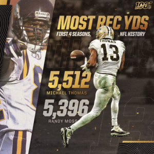 He just keeps running up the records. 📝  @Saints | @Cantguardmike | #Saints https://t.co/ZiiOzApmVl: NFL  ORiddell  MOST REC YDS  FIRST 4 SEASONS,  NFL HISTORY  THOMAS  13  5,512  MICHAEL THOMAS  5,396  RANDY MOSS He just keeps running up the records. 📝  @Saints | @Cantguardmike | #Saints https://t.co/ZiiOzApmVl