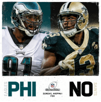 Philadelphia Eagles, Memes, and Nfl: NFL  PHI  NFL  DIVISIONAL  SUNDAY, 440PMET  FOX Who's moving on: @Eagles or @Saints? #NFLPlayoffs  📺: #PHIvsNO. Sunday on FOX (4:40pm ET)! https://t.co/uGsyAtWHs3