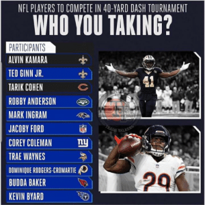 Ginn all day for me   Who ya got?  #MylesFromContention: NFL PLAYERS TO COMPETE IN 40-YARD DASH TOURNAMENT  WHO YOU TAKING?  PARTICIPANTS  ALVIN KAMARA  TED GINN JR.  TARIK COHEN  ROBBY ANDERSON ㊥I  MARK INGRAM  JACOBY FORD  NFL  COREY COLEMAN y  TRAE WAYNES  DOMINIQUE RODGERS-CROMARTIE  BUDDA BAKER  KEVIN BYARD Ginn all day for me   Who ya got?  #MylesFromContention