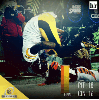 Steelers advance to the divisional round with an 18-16 win over the Bengals. What a game!: NFL  PLAYOFFS  FINAL  br  CES  PIT 18  CIN 16 Steelers advance to the divisional round with an 18-16 win over the Bengals. What a game!