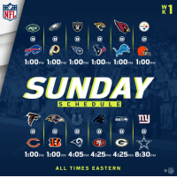 IT'S HERE! FOOTBALL SUNDAY IS HERE! #Kickoff2017 https://t.co/zLioA3AQT8: NFL  RAIDERS  1:00PM 1:00PM 1:00PM 1:00pM 1:00PM 1:00pM  SUNDAY  S C H E D ULE  @a@  @  1:00pM 1:00PM 4:05PM 4:25pM 4:25PM 8:30pM  ALL TIMES EASTERN IT'S HERE! FOOTBALL SUNDAY IS HERE! #Kickoff2017 https://t.co/zLioA3AQT8