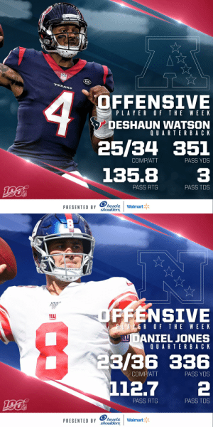 Offensive Players of the Week (Week 3):  AFC: @HoustonTexans QB @deshaunwatson NFC: @Giants QB @Daniel_Jones10   (by @Headshoulders) https://t.co/WdU2DtoWJ6: NFL  RCH  TEXANS  OFFENSIVE  PLAYER OF THE WEEK  DESHAUN WATSON  QUARTERBACK  25/34 351  PASS YDS  COMP/ATT  135.8  PASS TDS  PASS RTG  NFL  PRESENTED BY head&  shoulders  Walmart   OFFENSIVE  nu  PLAYER OF THE WEE K  LU DANIEL JONES  QUARTERBACK  23/36 336  112.7  COMP/ATT  PASS YDS  PASS RTG  PASS TDS  NFL  PRESENTED BY head&  shoulders  Walmart Offensive Players of the Week (Week 3):  AFC: @HoustonTexans QB @deshaunwatson NFC: @Giants QB @Daniel_Jones10   (by @Headshoulders) https://t.co/WdU2DtoWJ6