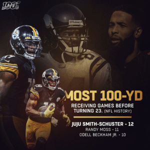 .@TeamJuJu broke out early and hasn't stopped BALLING! #HereWeGo  📺: #INDvsPIT -- TOMORROW 1PM ET on CBS 📱: NFL app // Yahoo Sports app https://t.co/77rCwWq8nw: NFL  Riddell  Steck  MOST 100-YD  RECEIVING GAMES BEFORE  TURNING 23. (NFL HISTORY)  JUJU SMITH-SCHUSTER 12  RANDY MOSS - 11  ODELL BECKHAM JR. 10 .@TeamJuJu broke out early and hasn't stopped BALLING! #HereWeGo  📺: #INDvsPIT -- TOMORROW 1PM ET on CBS 📱: NFL app // Yahoo Sports app https://t.co/77rCwWq8nw