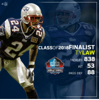 Ty Law! Finalist for the @ProFootballHOF Class of 2018! #PFHOF18  📺: Live NOW on @NFLNetwork https://t.co/Bvrt6xyM6E https://t.co/I4DBExBetw: NFL  rt  SUPER  CLASSOF2018FINALIST  TYLAW  TACKLES 838  INT 53  PASS DEF 88  PRO FOOTBALL  HALLO FAME  ANTON, OHI Ty Law! Finalist for the @ProFootballHOF Class of 2018! #PFHOF18  📺: Live NOW on @NFLNetwork https://t.co/Bvrt6xyM6E https://t.co/I4DBExBetw