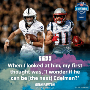 """🤔🤔🤔 @McSorley_IX @Edelman11 https://t.co/AwfEHWpHFc: NFL  ScoUTIN G  COMBINE  2019  presented by  verizon  PATRID  When I looked at him, my first  thought was, I wonder if he  can be [the next] Edelman?""""  SHAN PAYTON  ON TRACE MCSORLEY  VIA PETER KING 🤔🤔🤔 @McSorley_IX @Edelman11 https://t.co/AwfEHWpHFc"""