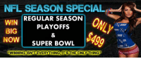 "Deal of a LIFETIME! Only $499 Lock your Season in before the price goes UP! NFLPicks NFL Eagles Giants ESPN: NFL SEASON SPECIAL  REGULAR SEASON  WIN  PLAYOFFS  BIG  NOW  SUPER BOWL  ""WINNING ISN"" EVERYTHING ITS THE ONLY THING Deal of a LIFETIME! Only $499 Lock your Season in before the price goes UP! NFLPicks NFL Eagles Giants ESPN"