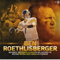 Ben Roethlisberger, Memes, and Nfl: NFL  Steelers  BEN  ROETHLISBERGER  BECOMES THE EIGHTH PLAYER IN NFL HISTORY TO  RECORD 50,000 PASS YARDS IN A CAREER 5️⃣0️⃣,0️⃣0️⃣0️⃣ career passing yards for Big Ben! #HereWeGo https://t.co/dQGOSFIqCV