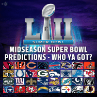 The @SuperBowl LII champion will be the ______! https://t.co/FhXgnlRJZ8: NFL  SUPER BOWL  MIDSEASON SUPER BOWL  PREDICTIONS-WHO YA GOT?  RAIDERS  Steelers The @SuperBowl LII champion will be the ______! https://t.co/FhXgnlRJZ8