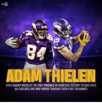 The last @Vikings wideout who started off like @athielen19?  His name was @RandyMoss. #Skol https://t.co/mfpIwWKJww: NFL  TH  JOINS RANDY MOSS AS THE ONLY VIKINGS IN FRANCHISE HISTORY TO HAVE OVER  60 CATCHES AND 900 YARDS THROUGH THEIR FIRST 10 GAMES The last @Vikings wideout who started off like @athielen19?  His name was @RandyMoss. #Skol https://t.co/mfpIwWKJww