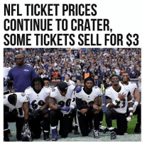 Memes, Nfl, and Snapchat: NFL TICKET PRICES  CONTINUE TO CRATER  SOME TICKETS SELL FOR $3 ____________________ 🔥Give us a follow! 🇺🇸 👉@drunkamerica👈 👉@drunkamerica👈 👉@drunkamerica👈 👉@drunkamerica👈 Follow us on Snapchat: DrunkAmerica 👻 ________________________ conservative trumptrain donaldtrump drunkamerica usa merica saturdaysarefortheboys presidenttrump liberallogic bluelivesmatter supportourtroops trump2017 military marines army navy infantry raisedright republican republicans 2ndamendment
