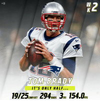 Memes, Nfl, and Tom Brady: NFL  TOM BRADY  IT'S ONLY HALF...  19/25ONEAT 294ns 154 RIF  COMP/ATT  YARDS TDS And it's only halftime. 😱 #GoPats #NEvsNO https://t.co/JcPvZMGkcK
