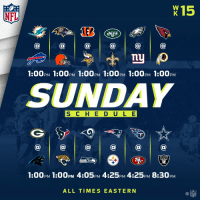 Football, Memes, and Nfl: NFL  X15  ETS  1:00PM 1:00PM 1:00pM 1:00pM 1:00PM 1:00PM  SUNDAY  S C H E D ULE  RAIDERS  PM  ALL TIMES EASTERN Sunday football is HERE.  12 games today! https://t.co/fWCCtmcZK5
