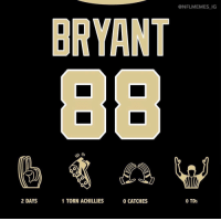 Sports, Torn, and Tds: @NFLMEMES_IC  BRYANT  2 DAYS  1 TORN ACHILLIES  0 CATCHES  0 TDs Longest career as a saint 😂 . . . . . . . 📸: @nflmemes_ig