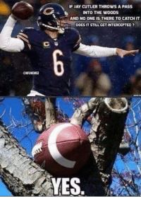 Jay Cutler problems. #Bears Nation Credit: Victor Durk: NFLMEMEZ  IFIAy CUTLER THROWS A PASS  INTO THE WOODS  AND NO ONEIS THERE TO CATCHIT  DOES IT STILL GET INTERCEPTED  YES Jay Cutler problems. #Bears Nation Credit: Victor Durk