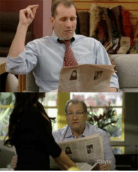 Memes, Modern Family, and 🤖: ngAu  影si Ed O'Neil has been reading the same newspaper for 20 years, on Married with Children and Modern Family.