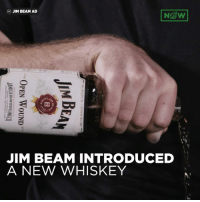 Jim Beam Releases New Whiskey Specially Made For Knife, Gun Wounds: Ngw!  (b) JIM BEAM AD  JIM BEAM INTRODUCED  A NEW WHISKEY  OY  IH  TE 1 ?:riFT Ss ? SWRSIN 삐 TEE!  BE  MN  OPEN WOUND  JI A  JAMESBBEAM DISTILLINGCQ  FRANx) ONT KENTUCKY USA Jim Beam Releases New Whiskey Specially Made For Knife, Gun Wounds