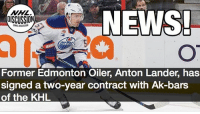 Yet another player fleeing for the KHL. Lander Edmonton Oilers NHLDiscussion: NHL  DISCUSSION  NEWS  Former Edmonton Oiler, Anton Lander, has  signed a two-year contract with Ak-bars  of the KHL Yet another player fleeing for the KHL. Lander Edmonton Oilers NHLDiscussion
