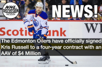 The Oilers officially have their shot-blocking machine back in the fold. Oilers Edmonton Russell nhldiscussion: NHL  DISCUSSION  NEWS!  Scotiank  The Edmonton Oilers have officially signed  Kris Russell to a four-year contract with an  AAV of $4 Million The Oilers officially have their shot-blocking machine back in the fold. Oilers Edmonton Russell nhldiscussion
