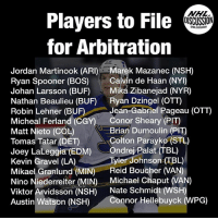 Arguing, Memes, and National Hockey League (NHL): NHL  Players to File  for Arbitration  DISCUSSION  NHL DISCUSSION  Jordan Martinook (ARI)Marek Mazanec (NSH)  Ryan Spooner (BOS) Calvin de Haan (NYI)  Johan Larsson (BUF) Miká Zibanejad (NYR)  Nathan Beaulieu (BUF) Ryan Dzingel (OTT)  Robin Lehner (BUFJean-Gabriel Pageau (OTT)  Micheal Ferland (GGY) Conor Sheary (PIT)  Matt Nieto (COL)  Tomas Tatar (DET)  Joey LaLeggia (EDM)Ondrej Palat (TBL)  Kevin Gravel (LA)  Mikael Granlund (MIN) Reid Boucher (VAN)  Nino Niederreiter (MIN) Michael Chaput (VAN)  Viktor Arvidsson (NSH) Nate Schmidt (WSH)  Austin Watson (NSH)Connor Hellebuyck (WPG)  Brian Dumoulin (PIT)  Colton Parayko (STL  Tyler Johnson (TBL) Full list of players to file for arbitration: NHL salary arbitration is a tool available to settle some contract disputes. The player and team each propose a salary for the coming season, and argue their cases at a hearing. The arbitrator, a neutral third party, then sets the player's salary. Teams can still negotiate contracts with the player before their hearing. NHLDiscussion Arbitration Parayko