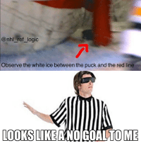 Logic, Memes, and National Hockey League (NHL): @nhl ref logic  Observe the white ice between the puck and the red line  LOOKS LIKEANO GOALTOME The Penguins get absolutely ROBBED of a goal but it's whatever idc