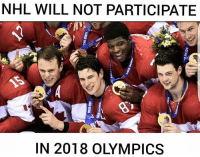 NHL will not participate in 2018 Pyeongchang Olympic Games: NHL WILL NOT PARTICIPATE  IN 2018 OLYMPICS NHL will not participate in 2018 Pyeongchang Olympic Games