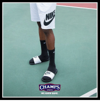 All summer. Shorts and slides by Nike available at Champs!: NI  CHAMPS  SPORTS  WE KNOW GAME All summer. Shorts and slides by Nike available at Champs!