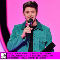 "Being Weird, Future, and Memes: NIALL HORAN SAYS IT WOULD BE WEIRD  TO COLLABORATE WITH HIS ONE DIRECTION  BANDMATES. NIALL HORAN IS WRONG Hoooooooold on a second. We get that everyone's off and doing their own things — you know, casually launching successful solo careers and breaking records with their debut albums and making babies and such — but to go ahead and say a One Direction reunion in the studio would be ""weird"" is ... weird. _ Not to call out Niall Horan or anything, but yeah: We'll respectfully agree to disagree on that assessment. _ Although Liam Payne said he was ""certain"" that 1D would eventually bring their current hiatus to a close and reunite, Horan told ETCanada that he wasn't so sure about that — or so sure about that in the near future, anyway. The question posed to Horan was one regarding his forthcoming album, and whether or not a collaboration with one of the 1D lads would find its way to the track list. _ ""Can't rule anything out really, can you?"" he replied. ""I suppose right now, it would be a bit weird; I never rule anything out, to be honest."" _ Fair enough, as every single one of the dudes is moving in a different direction at the moment, in a musical sense — could two songs sound more different than ""Sign of the Times"" and ""Strip That Down?"" — but still. _ It wouldn't be weird. It would be magical. Jussayin'. _ Hilary Hughes"