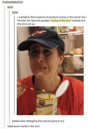 """Crying, A Picture, and Corn: nicdirks  elegsdaisy  tariei  tariei  i wanted to find a picture of someone crying in the corner but i  hit enter too fast and googled """"crying in the corn instead and  this showed up  please stop reblogging this post im going to cry  make sure it lands in the corn He's crying corndrops!"""