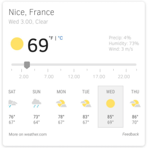 France, Weather, and Irl: Nice, France  Wed 3.00, Clear  69  Precip: 4%  Humidity: 73%  Wind: 3 m/s  2.00  7.00  12.00  17.00  22.00  SAT  SUN  MON  TUE  WED  THU  760  67°  730  64°  78°  67°  830  67°  85°  69°  86°  70°  More on weather.com  Feedback me irl