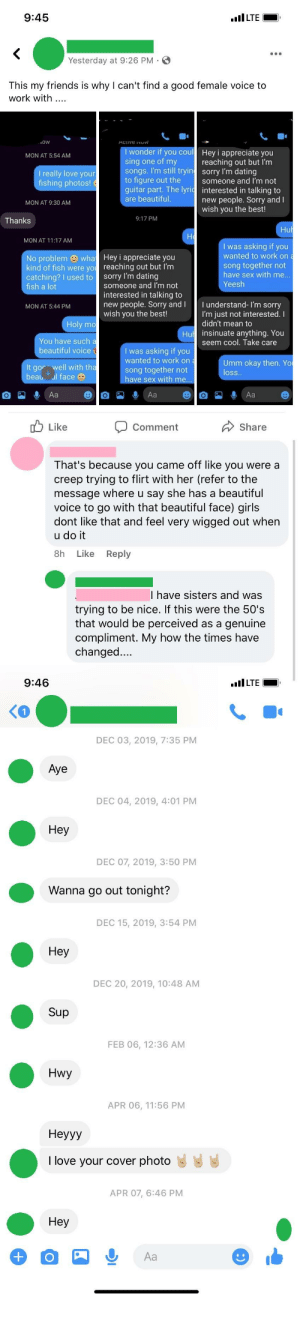 """Nice Guy posts flirty conversation wondering why she politely declines his offer. """"In the 50s that would be a compliment"""" + his DMs with me as a bonus: Nice Guy posts flirty conversation wondering why she politely declines his offer. """"In the 50s that would be a compliment"""" + his DMs with me as a bonus"""