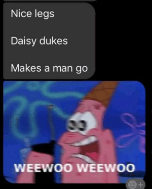 I laughed way too hard..: Nice legs  Daisy dukes  Makes a man go  WEEWOO WEEWOO  + I laughed way too hard..