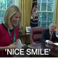 """28 JUN: US President Donald Trump interrupted a telephone call to congratulate the Irish Prime Minister on an election victory to comment on a female reporter's good looks. He called Caitriona Perry of Irish state broadcaster RTE over to his desk, and complimented her on her nice smile. Ms Perry described the moment as """"bizarre"""" on social media. For more: bbc.in-trumpperry Trump DonaldTrump POTUS RTE CaitrionaPerry BBCNews BBCShorts @BBCShorts: NICE SMILE 28 JUN: US President Donald Trump interrupted a telephone call to congratulate the Irish Prime Minister on an election victory to comment on a female reporter's good looks. He called Caitriona Perry of Irish state broadcaster RTE over to his desk, and complimented her on her nice smile. Ms Perry described the moment as """"bizarre"""" on social media. For more: bbc.in-trumpperry Trump DonaldTrump POTUS RTE CaitrionaPerry BBCNews BBCShorts @BBCShorts"""