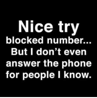 I'd answer for you @dizzle_saint_james: Nice try  blocked number...  But I don't even  answer the phone  for people I know. I'd answer for you @dizzle_saint_james