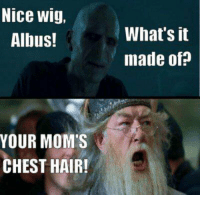 Memes, Wigs, and 🤖: Nice wig,  Albus!  YOUR MOM'S  CHEST HAIR!  What's it  made of? albus roasting