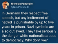 symbols: Nicholas Ponticello  @NickPonticello  In Germany, they respect free  speech, but any incitement of  hatred is punishable by up to five  years in prison. Nazi symbols are  also outlawed. They take seriously  the danger white nationalists pose  to democracy. Why dont we?