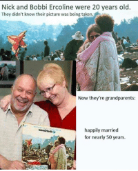 Love, Taken, and Forever: Nick and Bobbi Ercoline were 20 years old  They didn't know their picture was being taken.  Now they're grandparents  happily married  for nearly 50 years.  woodrtodke Free Love forever