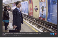 turnpike: Nick Clegg considering his options on the platform at Turnpike Lane as the train bears down  on him.  Photograph: James Gourley/Rex Shutterstock