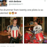 Memes, Bleach, and Nick: nick denbow  anickdenbow11  he drummer from twenty one pilots is so  alented  foo.  ice ~Blake youtube cancer cancerous lol funny bleach love amazing cute me look selfie style funny relatable tumblr funnymemes funnytextpost tumblrtextpost textpost cool fall christmas snow january 2k17 2017 newyear