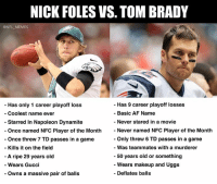 Af, Gucci, and Makeup: NICK FOLES VS. TOM BRADY  @NFL MEMES  -Has only 1 career playoff loss  - Coolest name ever  - Starred In Napoleon Dynamite  Has 9 career playoff losses  - Basic AF Name  - Never stared in a movie  Once named NFC Player of the Month Never named NFC Player of the Month  Once threw 7 TD passes in a game  Only threw 6 TD passes in a game  - Was teammates with a murderer  50 years old or something  Wears makeup and Uggs  - Deflates balls  - Kills it on the field  A ripe 29 years old  Wears Gucci  Owns a massive pair of balls Your Super Bowl LII QB matchup