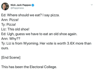 College, Pizza, and Guess: Nick Jack Pappas  @Pappiness  Ed: Where should we eat? I say pizza.  Ann: Pizza!  Ty: Pizza!  Liz: This old shoe!  Ed: Ugh, guess we have to eat an old shoe again  Ann: Why??  Ty: Liz is from Wyoming. Her vote is worth 3.6X more than  ours.  [End Scene]  This has been the Electoral College Who wants pizza?