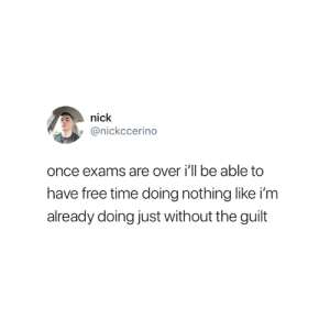 So true 😂: nick  @nickccerino  once exams are over i'll be able to  have free time doing nothing like i'm  already doing just without the guilt So true 😂