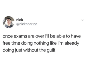 Doing Nothing: nick  @nickccerino  once exams are over i'll be able to have  free time doing nothing like i'm already  doing just without the guilt