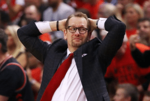Nick Nurse looks like the computer wiz hired by a robbery gang, terrified he's going to let them down when the pressure's on to crack the code. https://t.co/ugdnInbYE5: Nick Nurse looks like the computer wiz hired by a robbery gang, terrified he's going to let them down when the pressure's on to crack the code. https://t.co/ugdnInbYE5