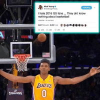Basketball, Memes, and Nick Young: Nick Young  I hate 2016 GS fans.. They dnt know  nothing about basketball  10.06 PM-10 Jun 2016  32,017 Retweets 30,767 Likes  AKERS  SPALDING Another hypocrite joins the squad... FuckKD FuckGSW