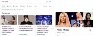 "Books, Diss, and Erica Mena: nicki minaj  Images  Q All  Books  News  Videos  More  Settings  Tools  About 122,000,000 results (1.00 seconds)  Top stories  More images  Nicki Minaj's Ex  Boyfriend Safaree Is  Expecting First Child  With Erica Mena  Chris Brown's ""Indiga""  DJ Akademiks Dusts  Off Lil AK Rap Persona,  Extended Version  Nicki Minaj  Features Tory Lanez,  Draps Nicki Minaj Diss  Nicki Minaj & More  Queen of Spain  The Blast  Hip-Hop Wired  HotNewHipHop I dont know man"