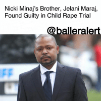 "Crime, Life, and Memes: Nicki Minaj's Brother, Jelani Maraj,  Found Guilty in Child Rape Trial  @balleralert Nicki Minaj's Brother, Jelani Maraj, Found Guilty in Child Rape Trial - blogged by @MsJennyb ⠀⠀⠀⠀⠀⠀⠀ ⠀⠀⠀⠀⠀⠀⠀ After nearly three weeks on trial, the verdict is in on NickiMinaj's brother's child rape case. Jelani Minaj has been found guilty of predatory sexual assault against a child and endangering the welfare of a child, TMZ reports. ⠀⠀⠀⠀⠀⠀⠀ ⠀⠀⠀⠀⠀⠀⠀ Maraj was accused of raping his then-12-year-old stepdaughter. During the trial, the victim and her 10-year-old brother testified, explaining their side of the story to the jury. While experts testified that there was ""less than 1 in 348 billion chance"" that the DNA found on the victim's pajamas belonged to someone other than Maraj. Weeks later, the jury found him guilty of predatory sexual assault. ⠀⠀⠀⠀⠀⠀⠀ ⠀⠀⠀⠀⠀⠀⠀ Although Maraj will be sentenced next month, he is facing 25 years to life in prison for the crime."