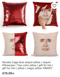 Nicolas Cage: Nicolas Cage face sequin pillow   sequin  Pillowcase   Two color pillow I gift for her l  gift for him I pillow magic pillow 10M007  £15.00+
